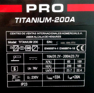 Caracteristicas técnicas soldadora inversora ce-titanium-200E
